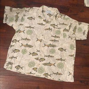 Columbia men's Rayon Fish themed Camp Shirt XL